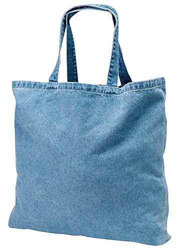 Washed Denim Heavy Canvas Twill Book Tote Bags for Daily Use (6, DENIM)