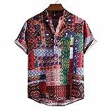 GBEN Camisa de lino para hombre vintage étnico Henley camiseta de manga corta verano Funky Moda Button Down Very Loud Shortsleeve Surf Unisex Hawaiian Camisa para hombre