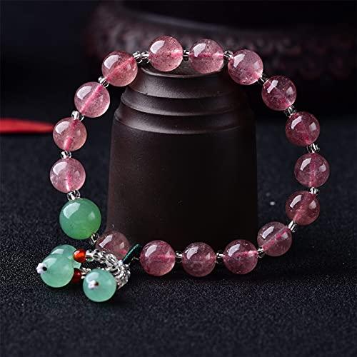 Cosaike Pulsera de Cristal Natural Feng Shui Healing Lucky Encanto de Fresa Pulsera de Cuarzo Amatista Amazonita Ágata Multi-gem Joyería de joyería Amuleto Atraer Dinero Prosperidad Suerte,B