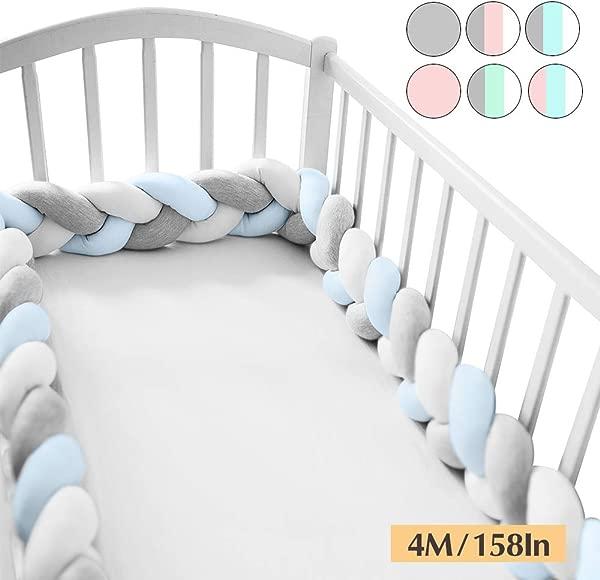 奇迹空间软结毛绒枕头婴儿婴儿床保险杠时尚幼儿园摇篮装饰婴儿学步儿童蓝色灰色白色 158IN 4M
