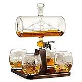 DXQDXQ Garrafa de Whisky de Vidrio Barco de Vela Conjunto Transparente Juego de Jarra de Whisky de Vidrio con 4 Vasos de Grabados con Grifo de Acero Inoxidable