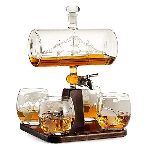 WANGIRL Elegante Garrafa de Whisky de Vidrio Barco de Vela Conjunto Transparente Juego de Jarra de Whisky de Vidrio con 4 Vasos de Grabados con Grifo de Acero Inoxidable Único