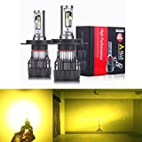 Alla Lighting S-HCR HB2 9003 H4 LED Bulbs 10000Lm Xtreme Super Bright 3200K Amber Yellow Dual Hi/Dipped Beam Bulbs Replacement for Cars, Motorcycles, Trucks
