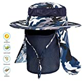 Idefair Fishing Hat Face Mask Outdoor,Sun Hat Men Women UPF 50+ SUN UV