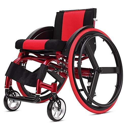 Xljh Deportes Ocio Silla de Ruedas Plegable Portador portátil Aluminio Ultraligero Llanta Trasera de desmontaje rápido