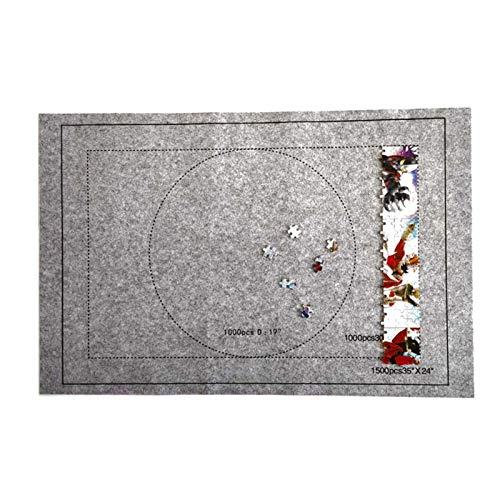TONGQU Estera de Rompecabezas portátil de 46 x 26 Pulgadas para Guardar Rompecabezas, hasta 1500 Piezas, Material Fieltro Primera Calidad, con Marcas de guía de tamaño Rompecabezas,Gris