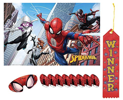 Spiderman Pin The Tail on The Donkey Style Party Game with Blindfold & Stickers! Plus 1st Winner Ribbon!