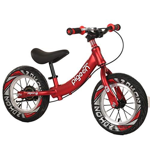"""HWF Bicicleta Sin Pedales Equilibrio 12\"""" Bicicleta de Equilibrio con Freno de Mano - Bicicleta sin Pedal para niñas, niños, niños pequeños de 2, 3, 4, 5, 6 años, Aluminio Ligero (Color : Red)"""