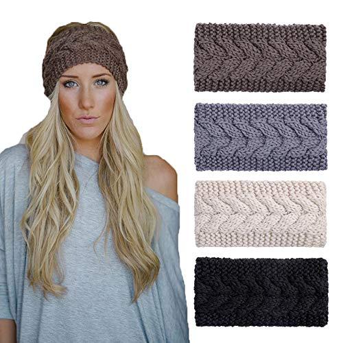 4 Pack Knitted Headbands Winter Headband Ear Warm Crochet Head Wraps for Women Girls (4 Color Pack G)