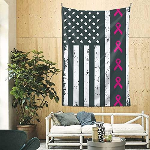 Tapiz de decoración Cintas de concientización sobre el cáncer de mama Bandera estadounidense grande Tapiz de viaje Arte de pared para apartamento Dormitorio Habitación Telón de fondo Decoración del ho