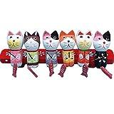 猫の置物 木製の置物 小猫釣り 6点 猫セット 釣りをする猫 ギフト 贈り物 結婚記念日 転居 (猫セット)