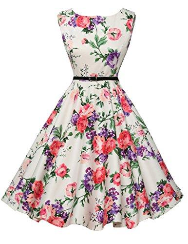 50er jahre kleid abschlussballkleid baumwolle faltenrock sommerkleid petticoat kleid Größe L CL6086-21
