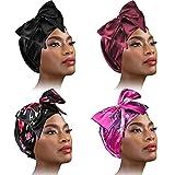 4 Pieces Soft Satin Head Scarf Sleeping Cap Turbans Head Cover Bonnet Head Wear for Women (Set 4)