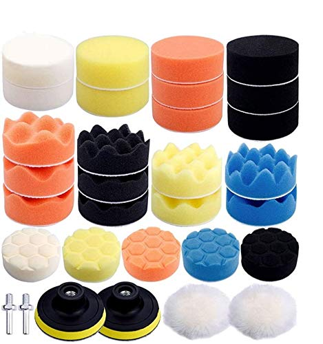 Dimoxii Esponja de Pulido Coche 31pcs Set de Almohadillas Para Pulir Almohadillas kit de Ajuste con Taladro Adaptador para Coche (Esponja pulidora de 3 pulgadas)