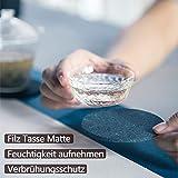 Aujelly Filz Untersetzer rund 10er Set, Untersetzer Gläser Getränkeuntersetzer mit Box, als Glasuntersetzer für Getränke, Tassen, Bar, Glas(Grau Untersetzer) - 2