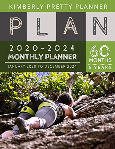 5 year monthly planner 2020-2024: 2020-2024 Monthly Planner Calendar   internet login and password   5 Year Goal Planner   Five Year Life Goal Plan   hiking mountain design