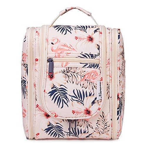 Reise Kulturtasche Zum Aufhängen Kulturbeutel Kosmetiktasche Waschtasche für Frauen Mädchen Damen (Beiger Flamingo)