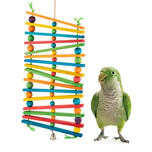 MEWTOGO Bird Chewing Wood Stick Toy- Bird Parrots Beaks Trim Hanging Wooden Tearing Toys with Colorful Beads for Small&Medium Parakeet Cockatiels Conures Love Birds Finches Eclectus Budgies