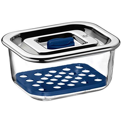 WMF Top Serve Frischhaltedose Glas 13x10cm, Aufschnittbox Glas mit luftdichtem Deckel, Frischeventil, Aufbewahrung Glas mit Abtropfgitter, Käsedose