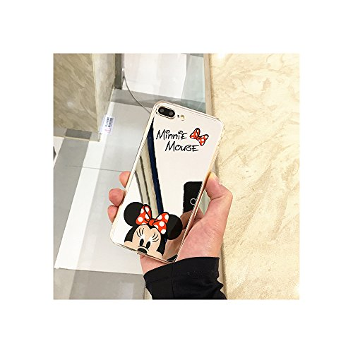 Cute Mickey Minnie Mouse Cover Mirror Silicone Plating Soft Gel Case for iPhone Case Cover for I Phone 7 or 8 (Minnie/I Phone 7 or 8)
