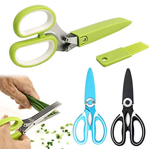 3-Pack Kitchen Shears and Herb Scissors Set, Stainless Steel Herb Scissors and Heavy Duty Shears Set Premium Shears Multipurpose Kitchen Shear for for Chicken/Poultry/Fish/Meat/Vegetables/Herbs/BBQ