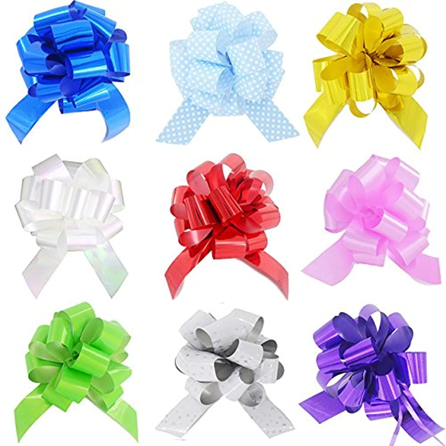 Yeeper Small Pull Bows/Christmas Gift Knot with Ribbon Strings to Wrap The Box or Floral Decoration, Pack of 9 in Diferent Colors (White/Red/Pink/Yellow/Green/Blue/Purple)