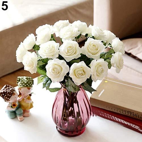 Homeofying 10 Stück künstliche Latex-Rosen für Hochzeit, Party, Büro, Tischstrauß, Heimdekoration für Hochzeiten für Babys, Jungen oder Mädchen