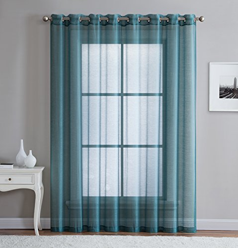 """DecoSource Best Sheer Grommet Window Curtains Panels for Bedroom, Living Room, Kitchen, Kid's Room and Outdoors Durable Polyester-2 Pieces (54"""" W x 84"""" L - Each Panel, Dusty Blue)"""