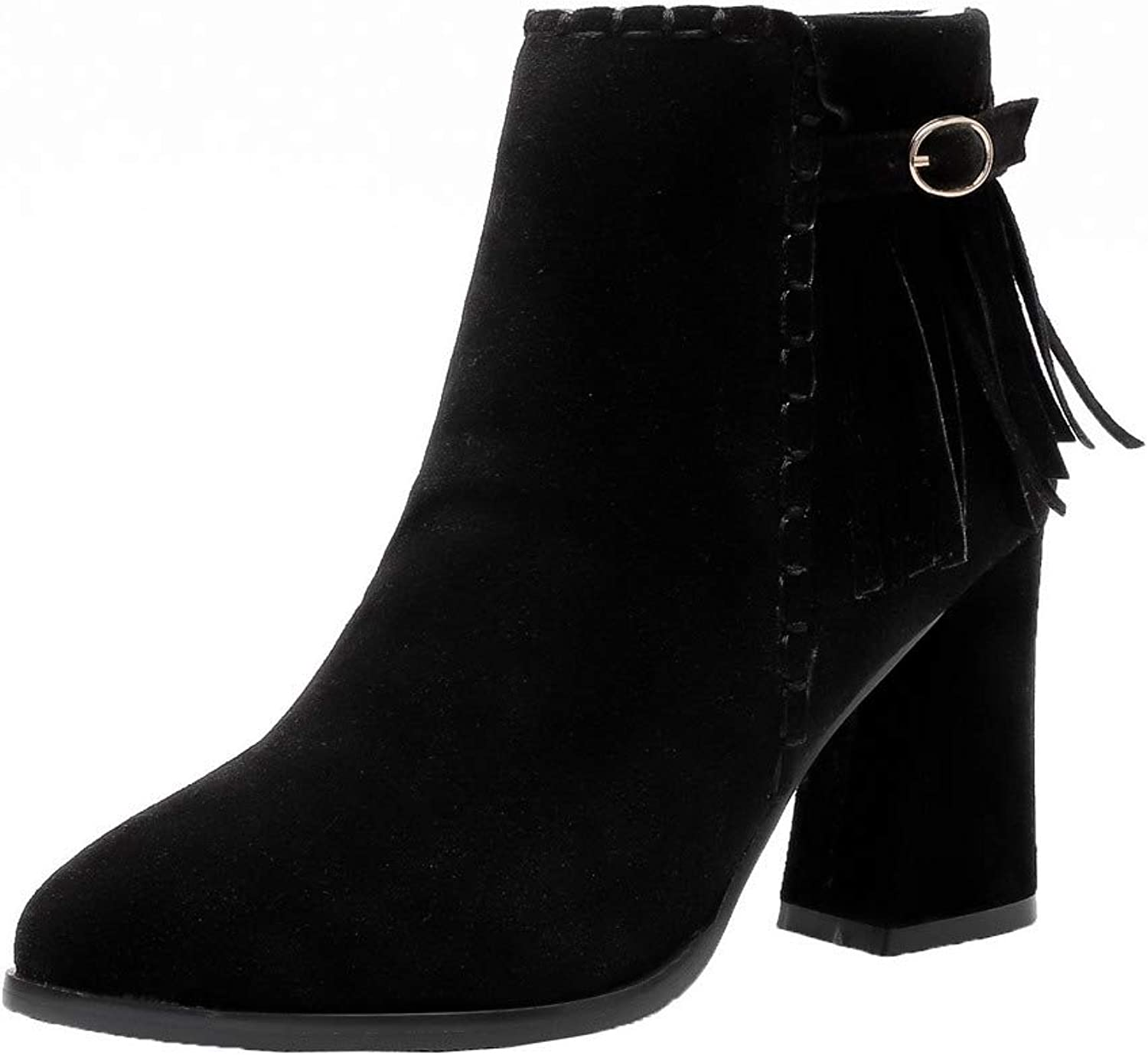 WeiPoot Women's High-Heels Solid Closed-Toe Imitated Suede Zipper Boots, EGHXH121472
