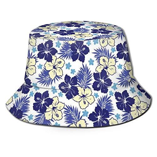 LLALUA Unisex Summer Fisherman Cap,Tropical Climate Foliage Hibiscus Abstract Nature Exotic Plumeria,Travel Beach Outdoor Sun Hat