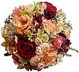 WANGQW Boda Ramo romántico Flores Artificiales, Ramo de Novia Seda Artificial Flor de Boda Dahlia Ramo Flores Salvajes Dama de Honor Rosas Rosas (Color : Size L 3pcs Set)