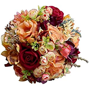 DYYD Wedding Bouquet Bridal Bouquet Artificial Silk Wedding Flower Dahlia Bouquet Wild Flowers Bridesmaid Bouquets Roses