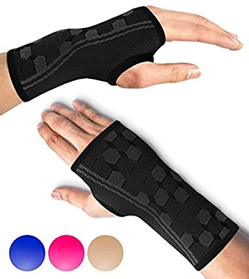 Sparthos Wrist Support Sleeves (Pair) – Medical Compression for Carpal Tunnel and Wrist Pain Relief – Wrist Brace for Men and Women (Small, Midnight Black)