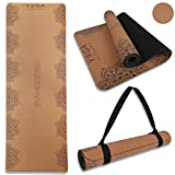 Cork Yoga Mat- Non Slip, Soft and Wider Exercise Fitness Mat - Natural Rubber Bottom Workout Mat with Strap, Sweat Resistant. Thicker, Longer, and Wider for More Comfort and Support(Mandala &Elephant )