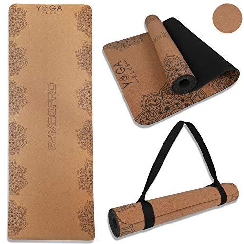 GYMBOPRO Cork Yoga Mat Eco Friendly Cork & Natural Rubber Mat Household Thickened Non-Slip Soft Durable Moisture Sweat Resistant no Wrinkles Mandala Yoga mat for Men & Women Exercise