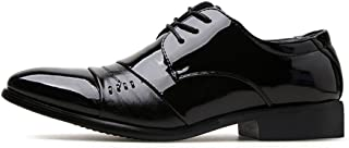 Shangruiqi Men's Fashion Oxford Casual Comfortable Stitching Lace-up Patent Leather Formal Shoes Abrasion Resistant (Color : Black, Size : 5 UK)