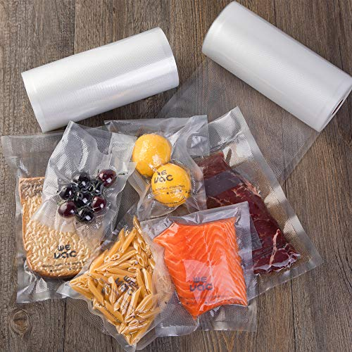 Vacuum Sealer Bags 8x50 Rolls 2 pack for Food Saver, Seal a Meal, Gamesaver, Weston. Commercial Grade, BPA Free, Heavy Duty, Puncture Prevention, Great for vac storage, Meal Prep or Sous Vide