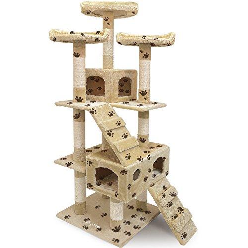 Deuba CADOCA® Katzenkratzbaum 175 cm I Stabiler Kratzbaum I 3 Aussichtsplätze 2 Höhlen I Katzenbaum Katze I - Beige mit Tatzen -