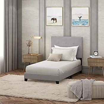 FURINNO Laval Button Tufted Upholstered Platform Bed - Twin  Glacier