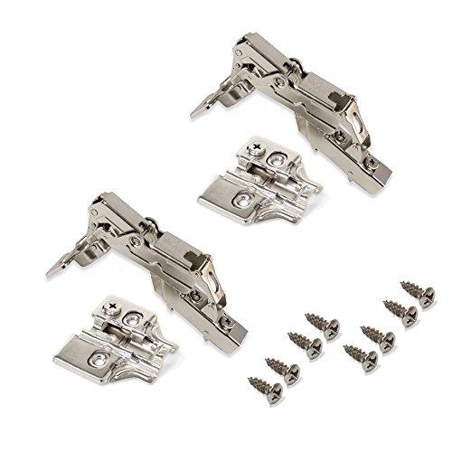 Emuca 1015007 Pack de 2 bisagras de cazoleta Ø35mm 165° cierre suave para puerta semi-solapada y suplementos para atornillar con regulación excéntrica