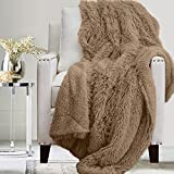 The Connecticut Home Company Soft Fluffy Warm Shag and Sherpa Throw Blanket, Luxury Thick Fuzzy Blankets for Home and Bedroom Décor, Comfy Washable Accent Throws for Sofa Beds, Couch, 65x50, Beige