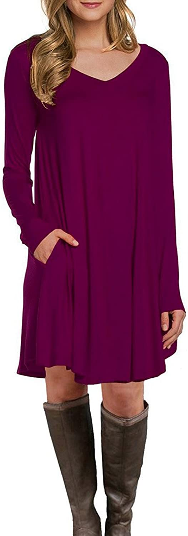blueetime Women's Long Sleeve Pockets Casual Loose TShirt Dress