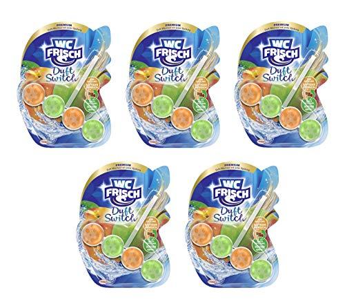 WC-Frisch Duft Switch Saftiger Pfirsich und Süßer Apfel, WC-Reiniger & Duftspüler, Duftwechsel, 5er Pack (5 x 50 g)