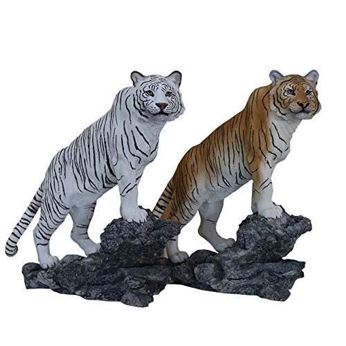 SY-Home Estatua De Animal De Tigre De Bengala De Jardín, Decoración De Muebles Simulación De Escultura De Animal Modelo De Artesanía Colección De Decoración De Coche Conjunto De Dos Piezas H26.5CM