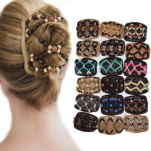 Saniswink Belle et mignonne pince à cheveux vintage avec perles élastiques pour femme - Peigne magique double face