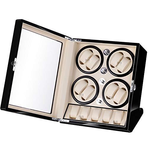 JIANBO Uhrenbeweger Fur Automatikuhren 8+5 Uhren,Watch Winder Box Für Rolex Automatikuhren/Uhrenkasten Uhrenbox/Uhrendreher/Uhren Box,Black+White
