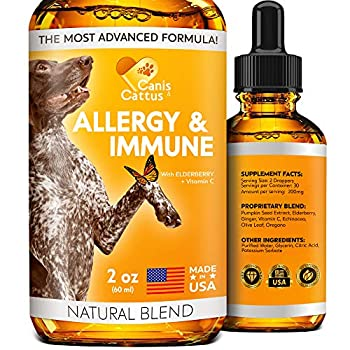 Allergy Immune Supplement for Dogs & Cats - Dog Itch Relief - Dog Skin and Coat Supplement - Allergy Relief for Dogs - Cat Allergy & Dog Allergy - Dog Skin Soother  2 Oz