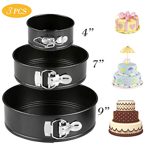Springform Cake Pans, Tedgem 3 Sizes/Set(4'/7'/9') High-carbon Steel Non-stick Round Cheesecake Pan, Cake Pans with Quick-Released Clips&Removable Bottom