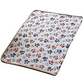 LAAT Dual Use Kitten Soft Blanket Doggy Soft Warm Pet Dog Cat Bed Blanket Puppy Blanket Paw Shape Warm Sleep Mat Cooling Pad Pet Bed Cushion for Summer Winter -1PC (Khaki)