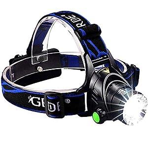 Suntop Luz de Cabeza, LED Linterna Frontal, Super Brillante Linternas Frontales Zoomable Recargable 1000 Lúmenes 3 Modos para Camping,Caza,Ciclismo,Trabajo,Pesca, Montañismo